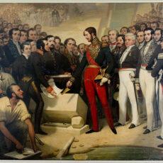 Restauration du tableau « le Duc d'Orléans pose la première pierre du pont-canal d'Agen »